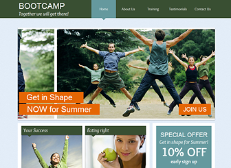 Fitness Bootcamp  Template - A refreshing website template to inspire and motivate. Cool colors and modern fonts make this the perfect template for any coach, counselor, or lifestyle guru. Craft a polished website to take your fitness center online!
