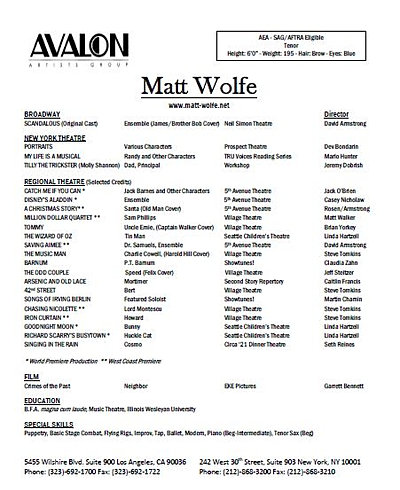 Matt Wolfe Actor For Theatre Film Voice Over Resumes
