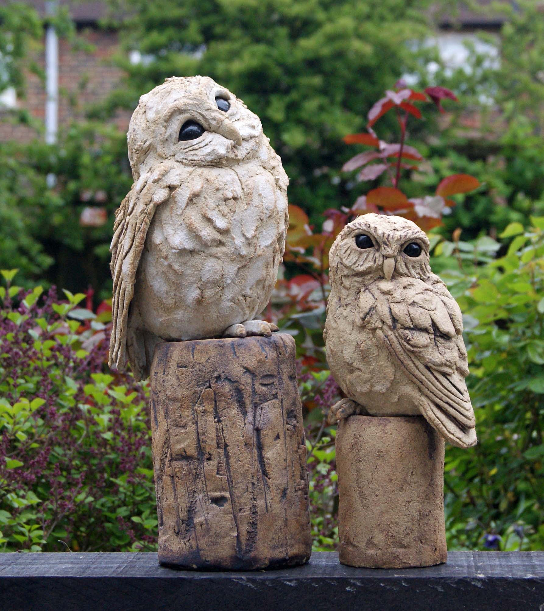 sandra bidmedceramic animal sculpturewest sussex Garden Owls