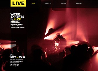 Music Event Management Template - Set your music booking agency apart with this energetic website template. Upload photos and edit text to promote your services and showcase the talent on your books. Customize the color scheme and layout to create a professional website that is as fresh as your talents!