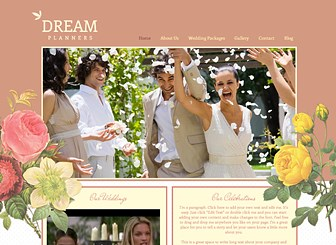 Wedding Planner Template - Sweetly romantic, this free website template awaits your event planning business. Add text to advertise your packages and rates and upload photos to share memories of past celebrations. Personalize the content, layout, and colors of this template to make it your own.