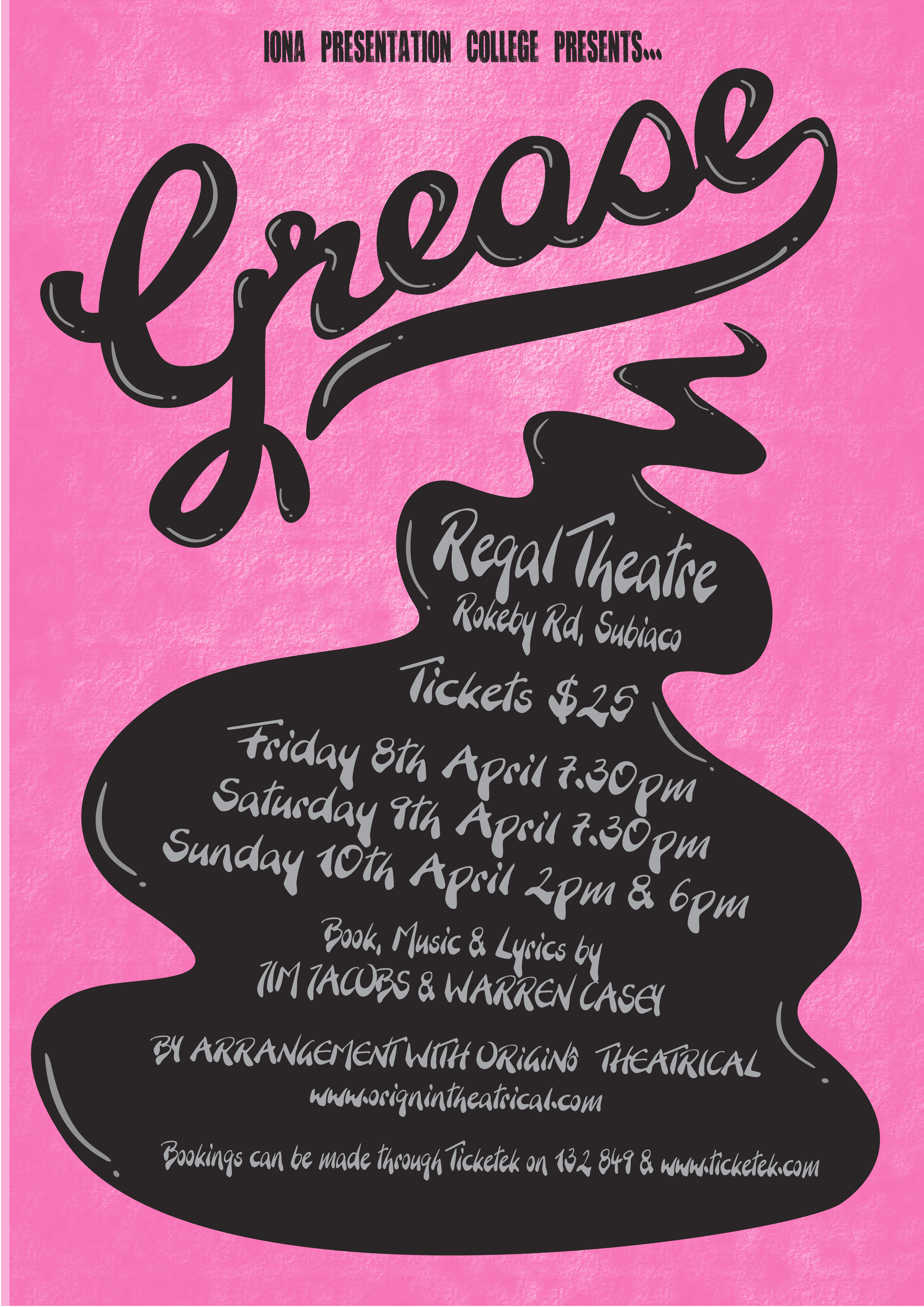 Kcb design grease the musical poster