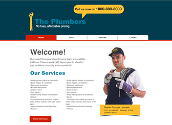 Plumber Template - Promote your plumbing or handyman business with the no-nonsense design and clean layout of this website template. Add photos and customize the text to spread the word about your rates and services. Start editing to build your online presence!