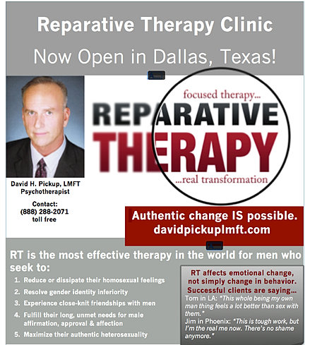 reparative therapy and the homosexual The texas republicans' measure states that we recognize the legitimacy and efficacy of counseling, which offers reparative therapy and treatment for those patients seeking healing and wholeness from their homosexual lifestyle.