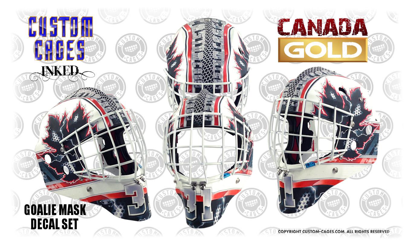 Custom goalie mask design and vinyl decal kits canadagold goalie mask vinyl decal set