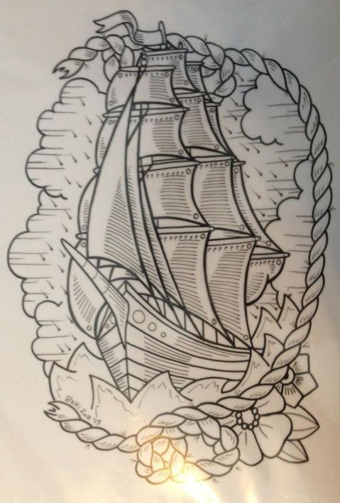 pirate map tattoo sleeve