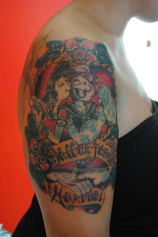 traditional tattoos old school tatoo. popay braccio di ferro tattoo