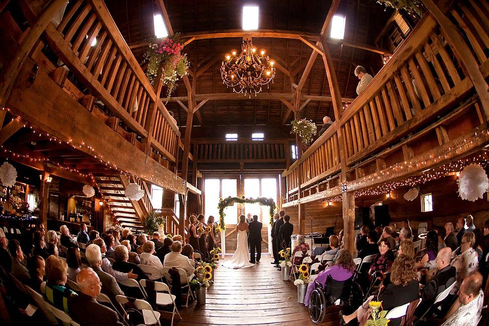 Indoor Barn Wedding Ceremony