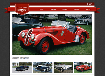 Vintage Cars Template - Custom designed for vintage car dealerships or garages, this polished template features sleek design and classic colors. Showcase your vehicles in the elegant photo gallery and edit the text to highlight your specialty services.