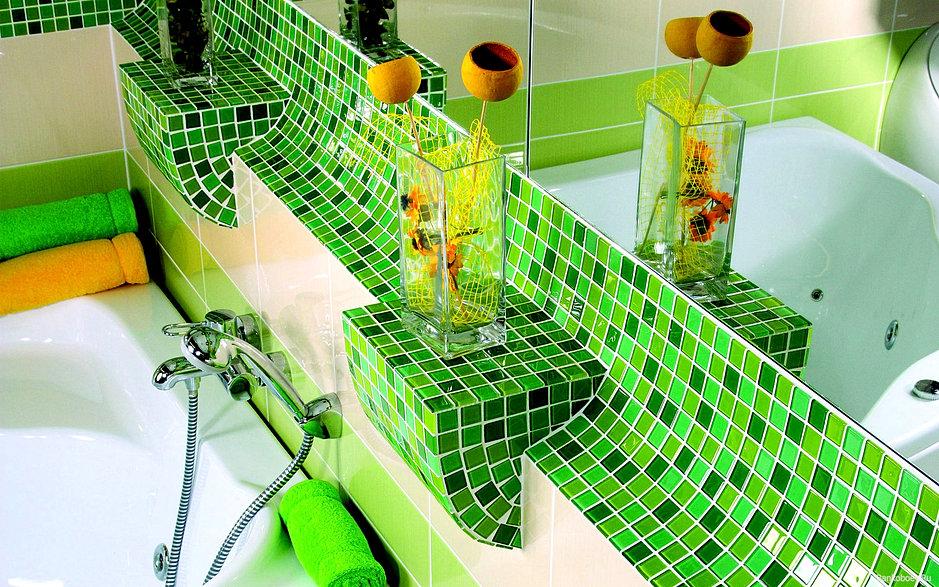 Виды укладки плитки в ванной салатовая фото