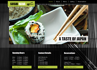 Sushi Restaurant Template - Set your restaurant apart with the eastern-inspired background and elegant design of this free website template. Add a tasteful menu and upload images to show off your delectable creations. Make changes to the layout and color scheme to match the tone of your establishment.