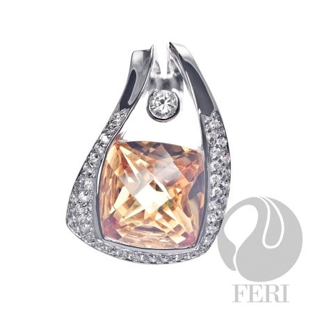 Citrine and white CZ pendant -US$ 570