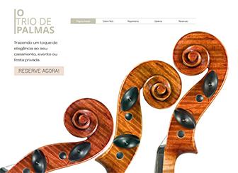 Trio Clássico Template - Um template refinado e com charme clássico. Personalize o texto para apresentar seus músicos e descrever seus serviços e repertório. Inclua fotos, videos e músicas para dar aos visitantes uma ideia do seu estilo de apresentação.