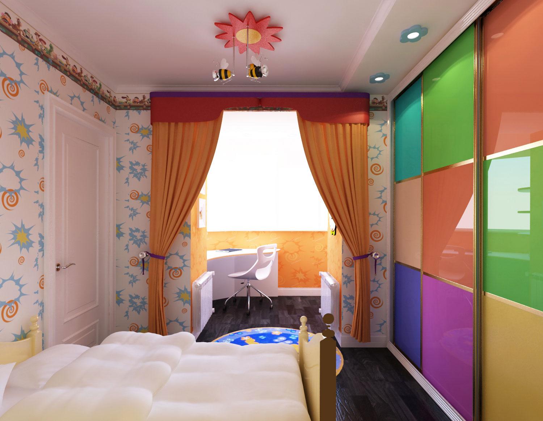 """Дизайн детской комнаты с лоджией """" современный дизайн."""