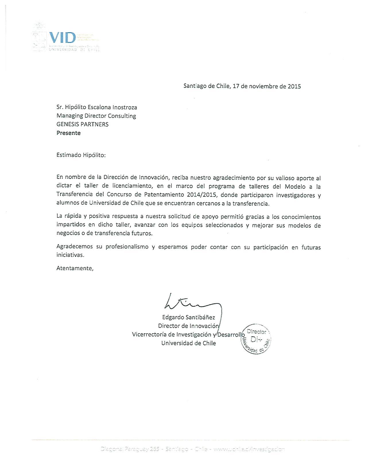 carta de agradecimiento taller de licenciamiento concurso de pantentamiento 20142015 vid universidad de chile a hiplito escalona managing director
