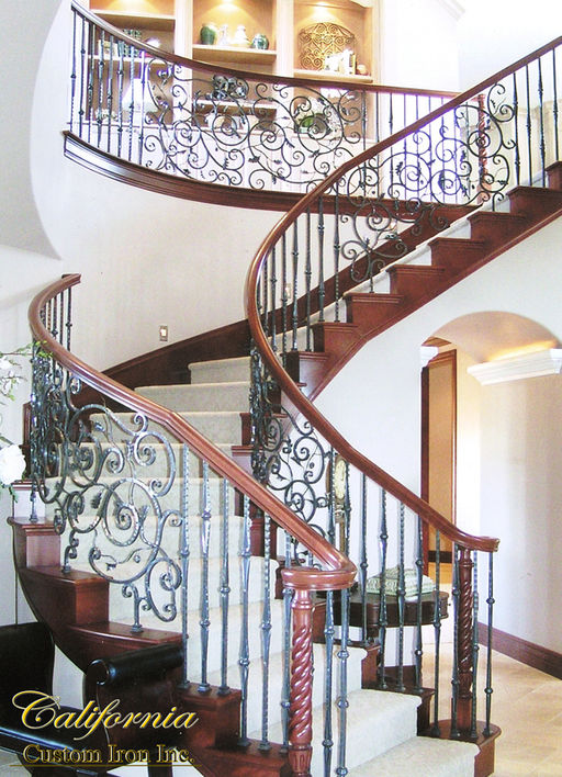 Iron Grand Staircase with Wood Cap