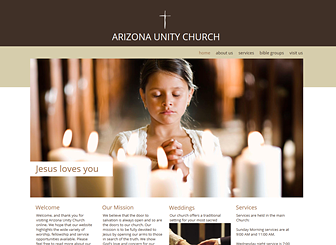 Church Site Template - Give your religious organization an online presence with this inspiring website template. Take advantage of the abundant space for text to focus on your message. Upload photos and customize the color and design to express the spirit of your organization.