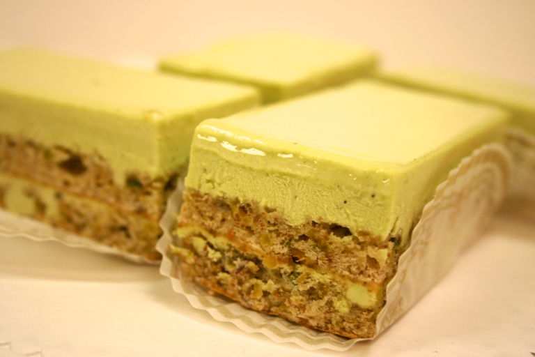 pistachio mousse layers pistachio mousse and pistachio macaroons