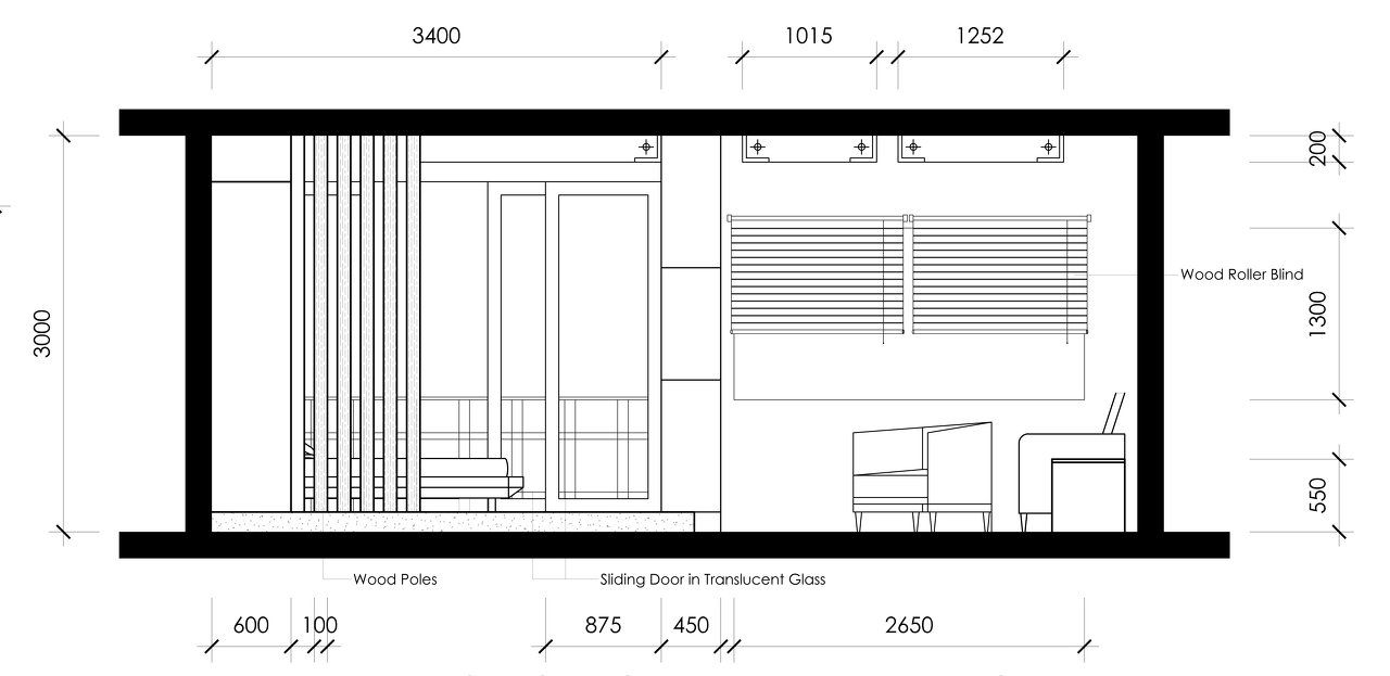 Suite room sectional elevation
