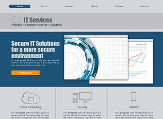 IT Solutions Template - A sleek and modern theme ready to take your IT business online. Add text to showcase your company's clients, services, and unique features. Upload photos and customize the design and color scheme to stand out from the crowd.