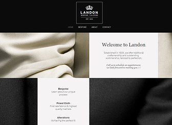 Tailor Template - Promote your tailor business with this elegant and sophisticated website template. Make all the alterations you need by editing the text, photos and even color palette to create a bespoke and unique feeling website. Start editing now and tailor make a website that's as sharp as your brand.