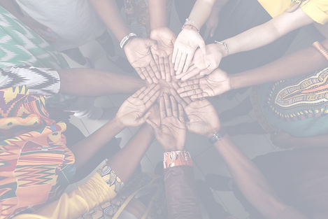 Diverse group of hands coming together in a circle showing partnership