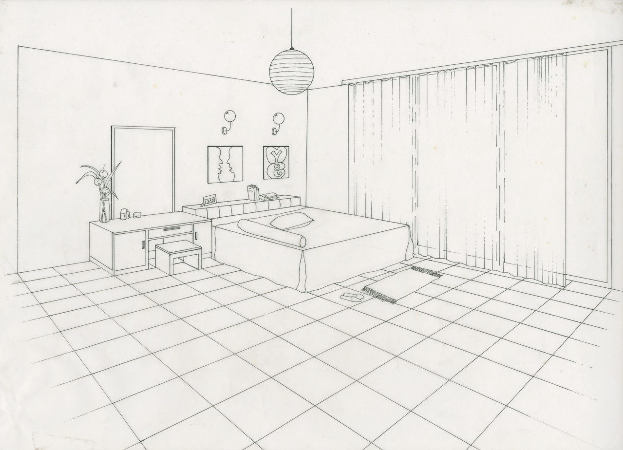 Bedroom drawing perspective - Bedroom Perspective