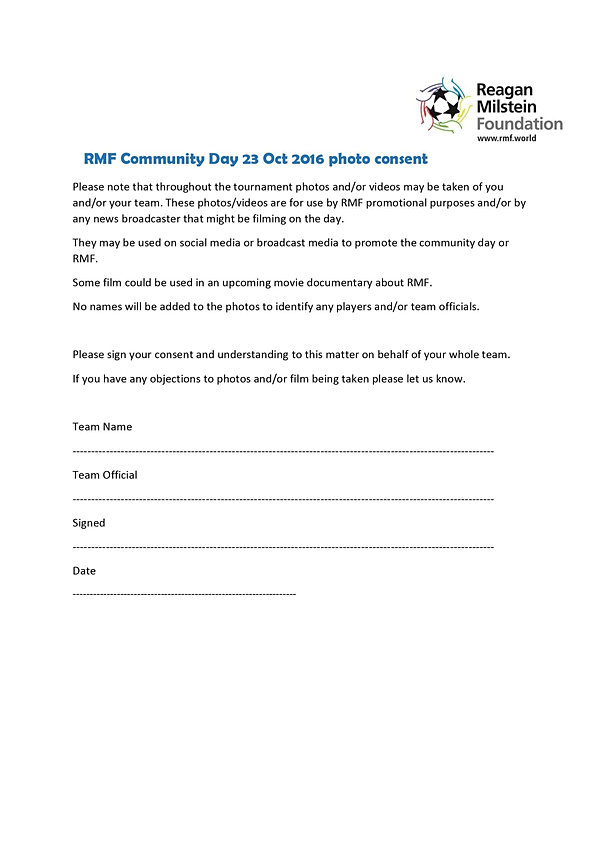 Rmf Community Football | Photo Consent Form