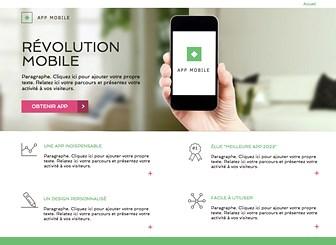 Landing Page Applications Template - Une page d'atterrissage impeccable pour présenter votre appli au monde. Présentez ses caractéristiques, ajoutez des liens vers votre site et vos réseaux sociaux et lancez votre business en ligne !
