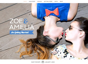 Casamiento Template - Invite friends and family to celebrate with you on your big day with this beautiful, modern wedding template. Share your love story, upload photos of the two of you, and post essential info about the time, date and location of the event. Add links to your registry and manage all RSVPs straight from your site!