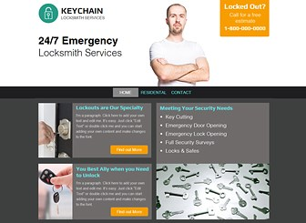Locksmith Template - Unlock your professional online presence with this impressive and eye-catching locksmith website template. With plenty of organised space to communicate your main services, this website template is great for anyone looking to lift their business off the ground. Simply edit and customize text to get started and watch your online presence soar!