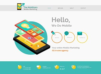 Mobile Marketing Template - A polished theme featuring bright colors and cut-out style graphics awaits your IT company. Add text to promote your services, rates, and credentials. Adjust the design and layout to create a cutting-edge website ready to compete in the online market.