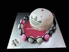 Adidas Snapback cake with Pink Shamballa bracelet bbkakes
