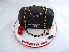Classic Black Chanel Handbag Cake with Lipstick and Roses 2