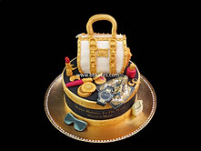 Versace themed birthday Cake with Handbag and accessories bbkakes