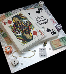 Queen of Diamonds playing cards cake