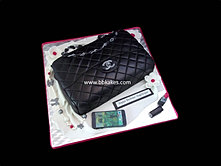 Classic Black Chanel Handbag Cake with accessories  Hot Pink bbkakes