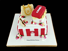 Chanel Theme Cake with Shoe bag and Box red and White bbkakes