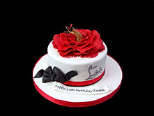 Christian Louboutin theme Cake with legs and flower dress bbkakes 1