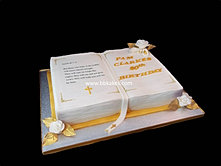 Gold and White Open Bible Cake bbkakes