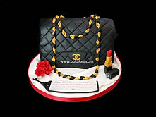 Classic Black Chanel Handbag Cake with Lipstick and Roses