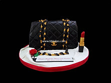Classic Black Chanel Handbag Cake  with Lipstick bbkakes