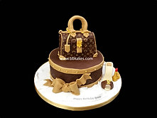 Louis Vuitton theme Bag and shoe cake by bbkakes