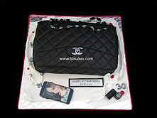 Classic Black Chanel Handbag Cake with accessories  Hot Pink 30 bbkakes