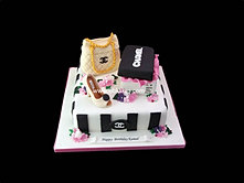 Chanel Theme Cake with Shoe bag and Box bbkakes