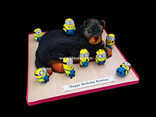 3d Yorkshire Terrier cake with 10 mini Minions