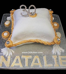 White and Gold 30th Pillow Cake