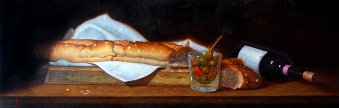 Arturo Garcia_Olives bread and wine_Oil on linen_2009.jpg