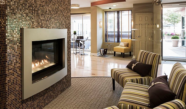 Electric recessed fireside wall