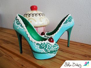 Teal Cherry Heels